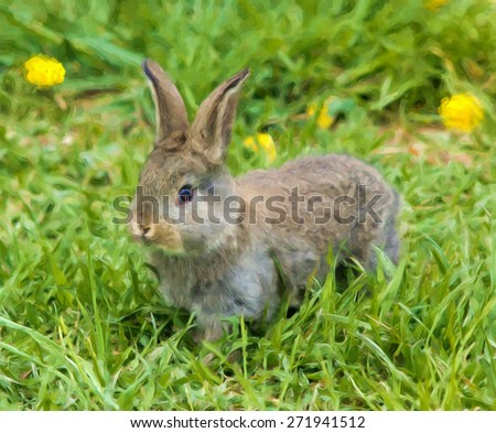 painting of a little wild rabbit in green grass - stock photo