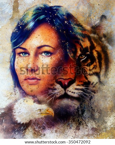 painting of a tiger and eagle head and woman goddess  portrait on colored abstract background, computer collage. Brown, orange, yellow, black and white color