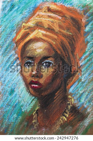 painting of a young black woman - stock photo