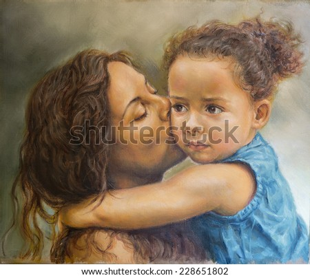 painting of a young woman kissing a girl - stock photo