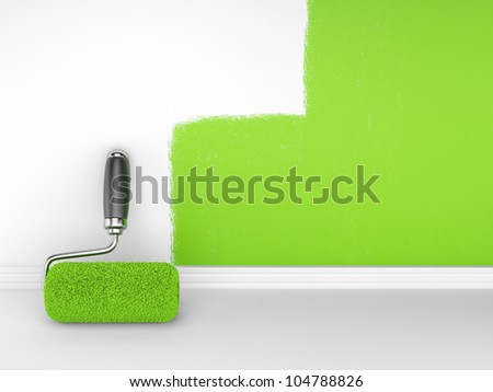 Painting of an empty wall. Renovation home. 3D illustrationn - stock photo