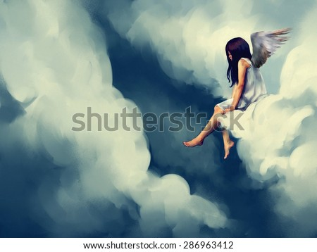 painting of Beautiful angel sitting on a cloud - stock photo