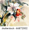 Painting of bright orchid in bloom - stock photo