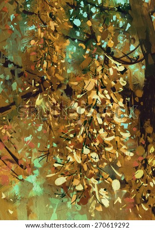 painting of bright yellow flowers on the branches in the autumn forest - stock photo