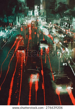 painting of car headlights and taillights on a city street at night - stock photo