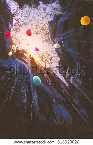 painting of colored balloons floating into the sky surrounded by the cliffs - stock photo