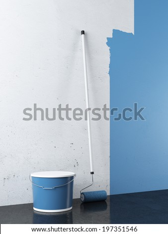 Painting of empty white wall - stock photo