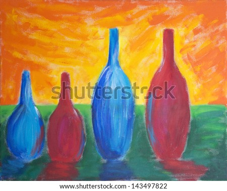 Painting of four different sized bottles with reflection and bright sky - stock photo