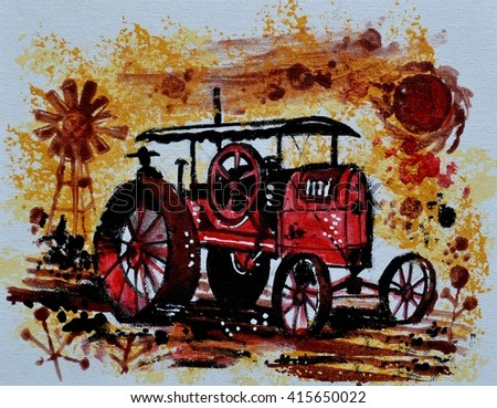 Painting of old antique red tractor on farm in Australian outback. - stock photo