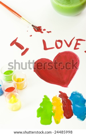 Painting of red heart with other colors around - stock photo