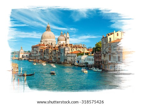 Painting of the Grand Canal and Basilica Santa Maria della Salute in the late evening, Venice, Italy