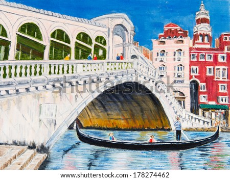 Painting of the Rialto Bridge in Venice - stock photo