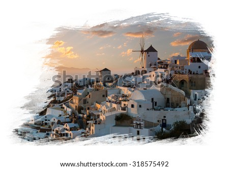 Painting of the windmills of Oia village, Santorini island, Greece