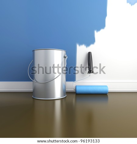 Painting of walls in a blue color. Repair in a house. 3d render - stock photo