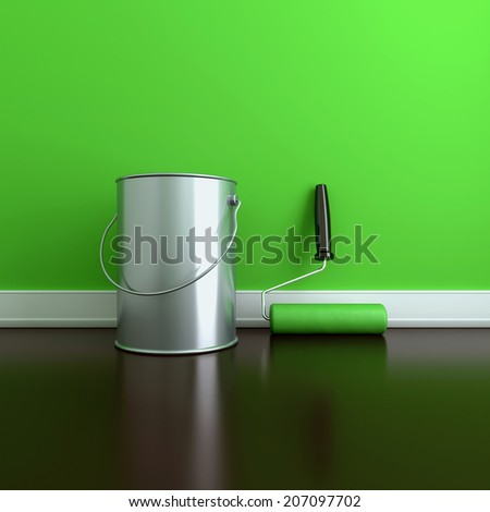 Painting of walls in a green paint. Decorating of house. 3d render illustration - stock photo