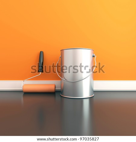 Painting of walls in a orange color. Repair in a house. 3d render - stock photo