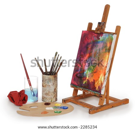 painting on canvas, art palette, brushes and easel isolated on white background. - stock photo