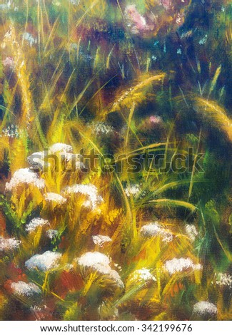 painting on canvas of a vibrant spring meadow full of wild colorful flowers in the bright sunny day. - stock photo