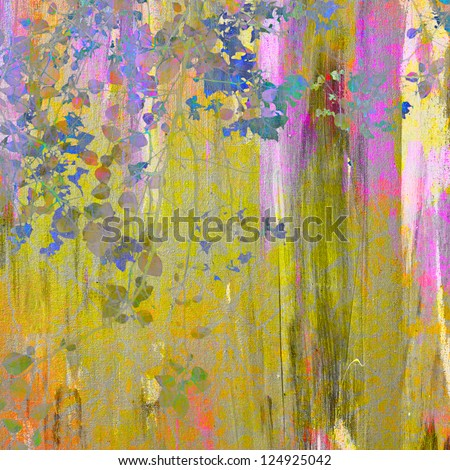 Painting on canvas texture with leaves and branches - stock photo