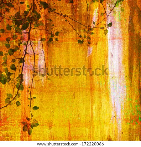 Painting on canvas texture with treetop - stock photo