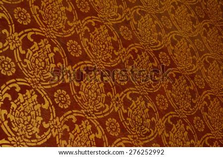 painting on the wall of Wat Senesukaram Buddhist temple in Luang Prabang, Lao - stock photo