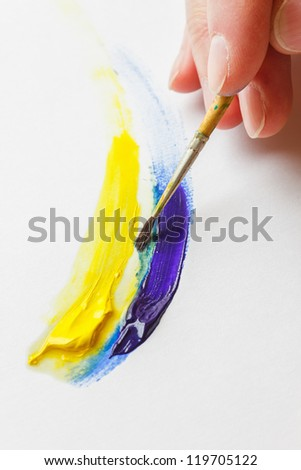 painting paint brush on a white paper - stock photo