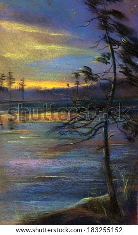 painting pastel sunset and twilight