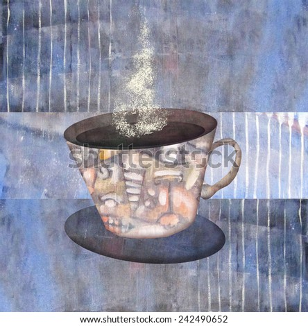 Painting patterned cups of steaming coffee or tea on abstract violet background. Mug of hot drink. Idea concept. Can be used for the kitchen or coffee shop interior, for design menu restaurant or cafe - stock photo