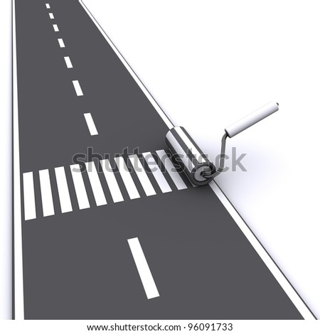 painting pedestrian crossing road - stock photo