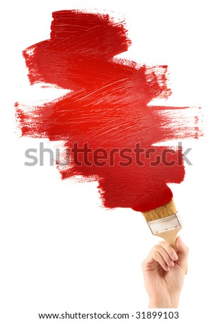 Painting red shape - stock photo