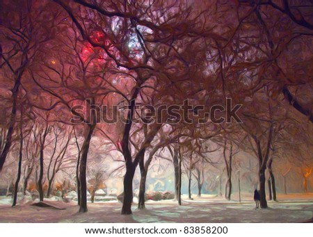 Painting showing park lighted by fireworks on new years eve. - stock photo
