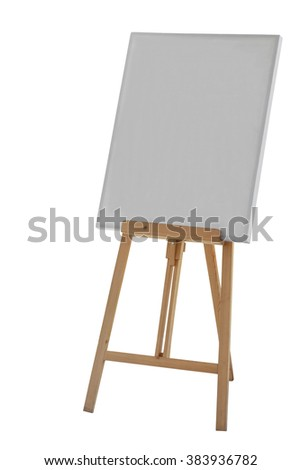 Painting stand wooden easel with blank canvas poster sign board isolated on white background - stock photo
