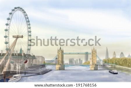 painting style illustration of London  Bridge - stock photo