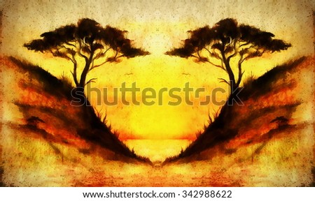Painting sunset, sea and tree, wallpaper landscape, color collage. and abstract grunge background with spots - stock photo
