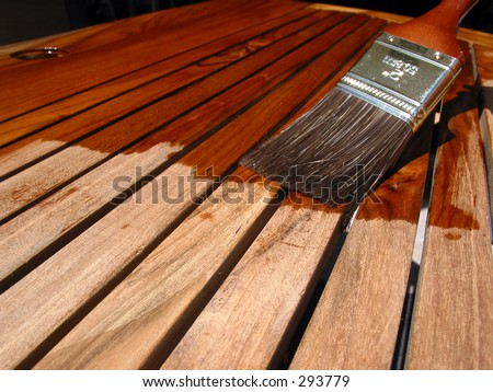 Painting Teak Furniture - stock photo