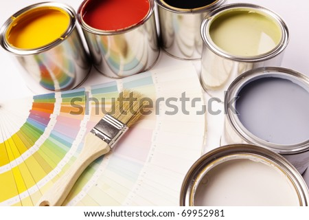 Painting time! A lot of paint, and equipment! - stock photo