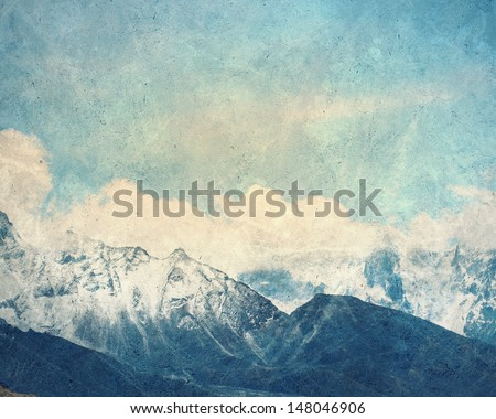 Painting with a snow high mountains landscape - stock photo
