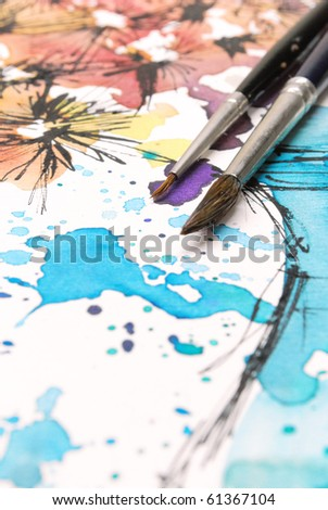 Painting with gouache paints on canvas - stock photo