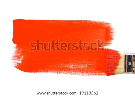 Painting with red paint - stock photo