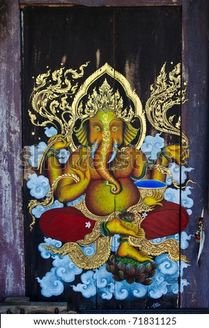 Paintings of Ganesh at the old wooden door. : door paintings - Pezcame.Com