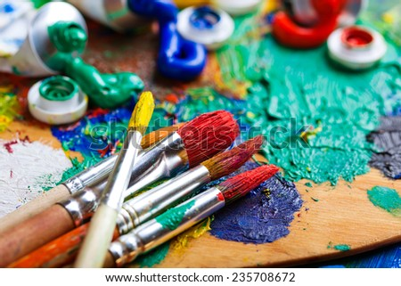 Paints and brushes  - stock photo
