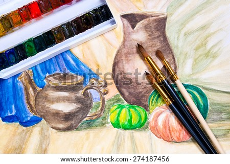 Paints and brushes on the watercolors painting of still life on the background. - stock photo