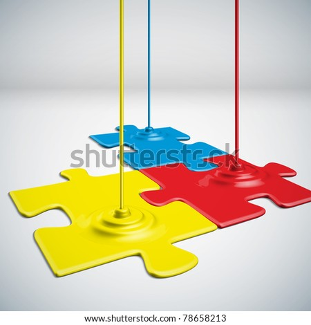 Paints Dripping Puzzles - stock photo