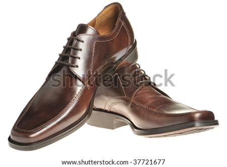 Pair a shoe a brown leather - stock photo