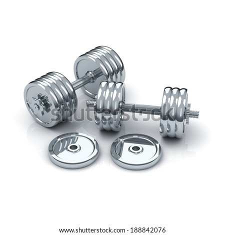 pair chrome dumbbells with threaded bars, 6 and 8 plates, spin-lock collars and 2 plates near on white background with shadow and reflection