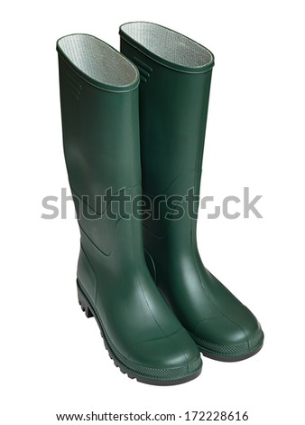 Pair of Agricultural workers Green Gum Boots isolated against a white background - stock photo