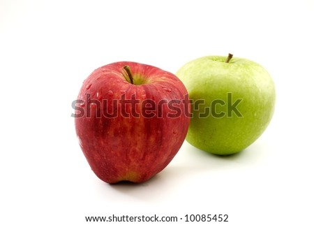 pair of apples, red delicious in front, isolated on white background