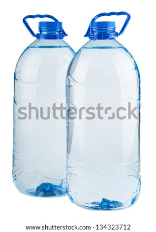 Pair of big bottles of water isolated on white background - stock photo