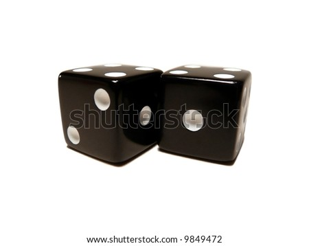 Pair of black dice isolated on a white background - stock photo
