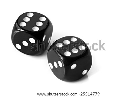 Pair of black dice, showing sixes, casting natural shadow on white.